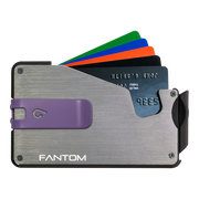 Fantom S 10 Coin Holder Aluminium Wallet (Silver) - Purple Money Clip