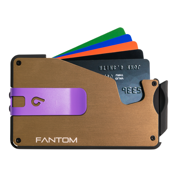 Fantom S 10 Coin Holder Aluminium Wallet (Gold) - Purple Money Clip