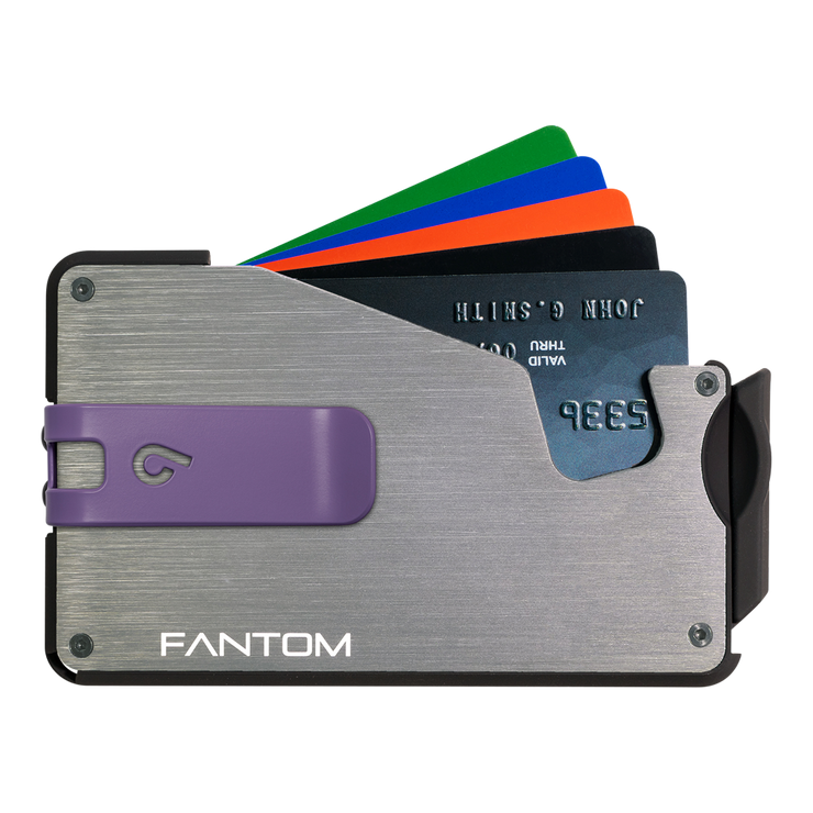Fantom S 13 Regular Aluminium Wallet (Silver) - Purple Money Clip