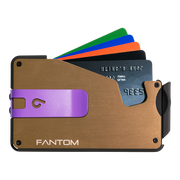 Fantom S 10 Regular Aluminium Wallet (Gold) - Purple Money Clip