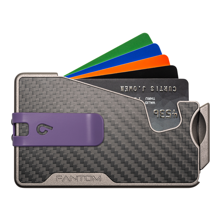 Fantom R 10 Carbon Fibre Wallet - Purple Money Clip