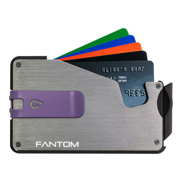 Fantom S 13 Coin Holder Aluminium Wallet (Silver) - Purple Money Clip
