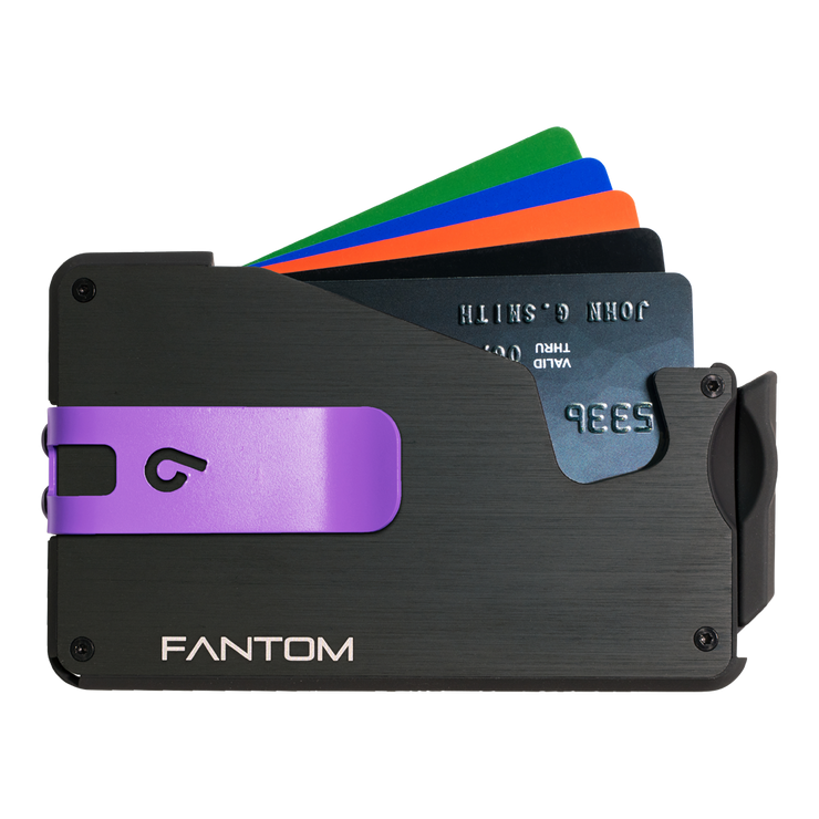 Fantom S 10 Coin Holder Aluminium Wallet (Black) - Purple Money Clip