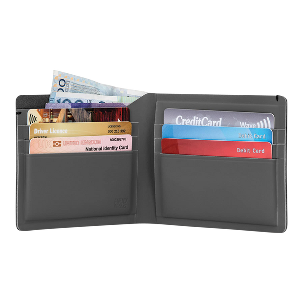 Pacsafe RFIDsafe TEC Bifold Plus Wallet at Wallet Co - Open View