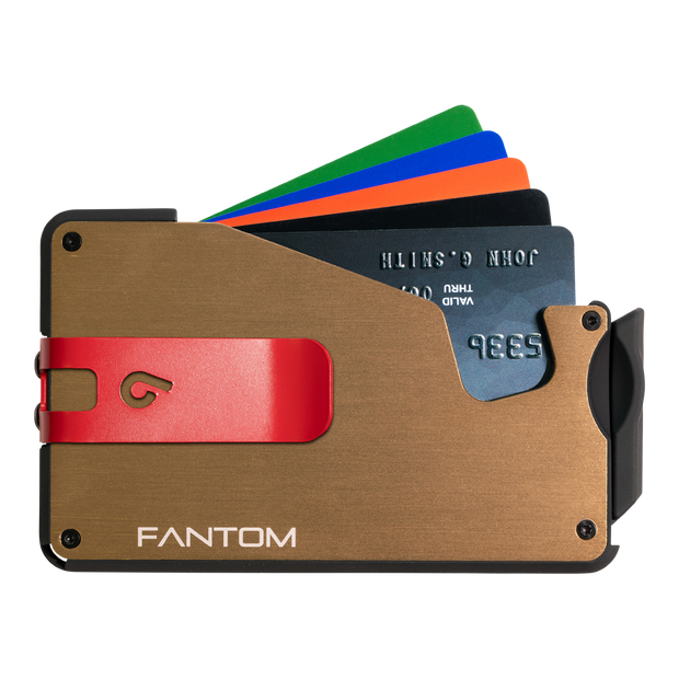 Fantom S 10 Coin Holder Aluminium Wallet (Gold) - Red Money Clip