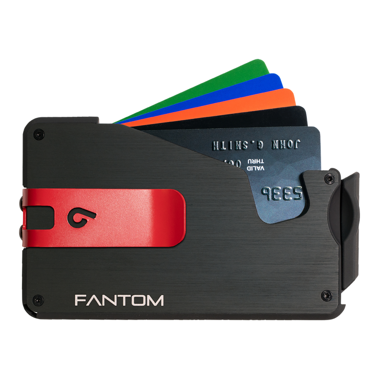 Fantom S 13 Coin Holder Aluminium Wallet (Black) - Red Money Clip