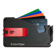 Fantom S 7 Coin Holder Aluminium Wallet (Black) - Red Money Clip