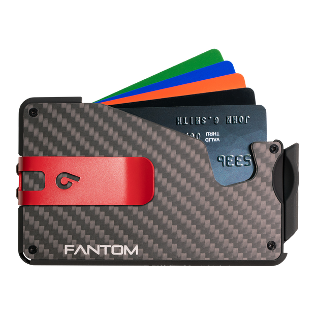 Fantom S 10 Coin Holder Carbon Fibre Wallet - Red Money Clip