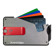 Fantom S 13 Coin Holder Aluminium Wallet (Silver) - Red Money Clip