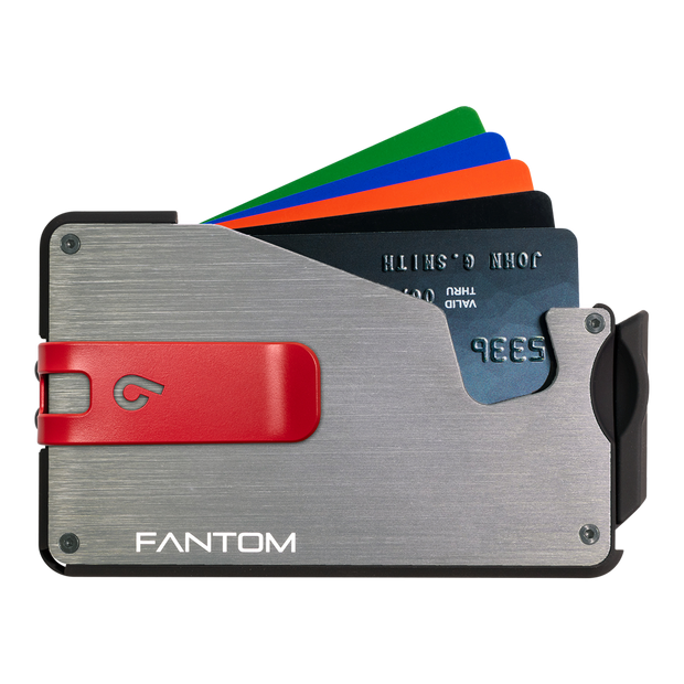 Fantom S 10 Coin Holder Aluminium Wallet (Silver) - Red Money Clip