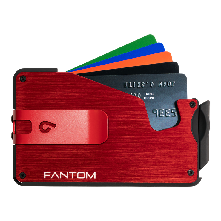 Fantom S 13 Regular Aluminium Wallet (Red) - Red Money Clip