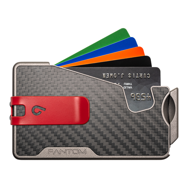 Fantom R 13 Carbon Fibre Wallet - Red Money Clip