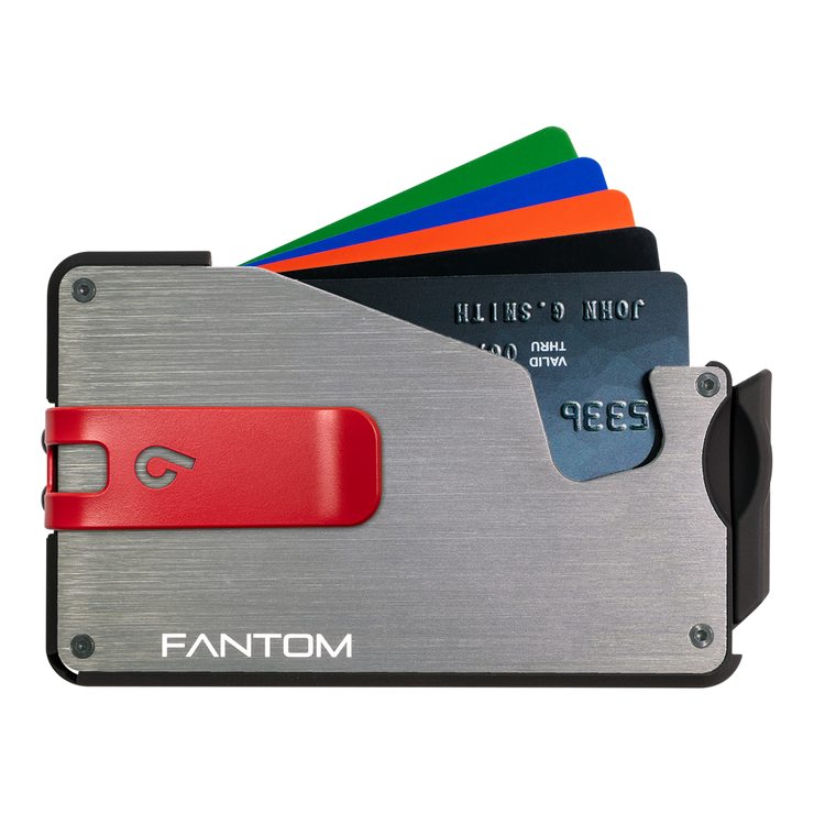 Fantom S 13 Regular Aluminium Wallet (Silver) - Red Money Clip