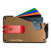 Fantom S 13 Regular Aluminium Wallet (Gold) - Red Money Clip