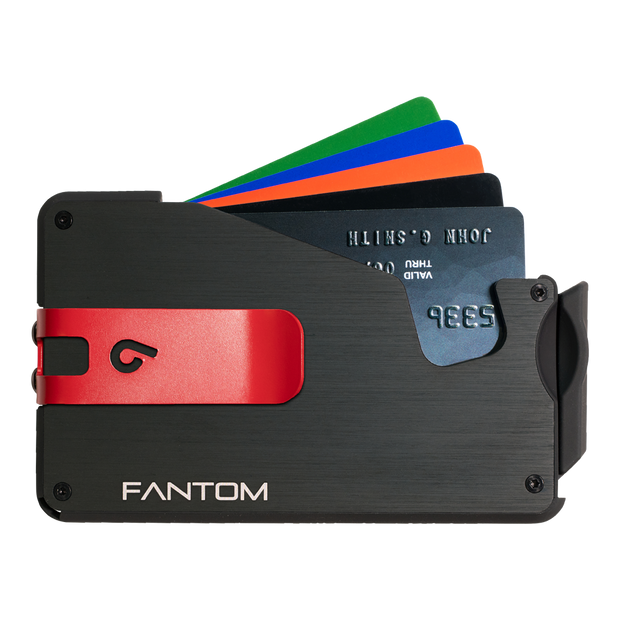 Fantom S 10 Coin Holder Aluminium Wallet (Black) - Red Money Clip