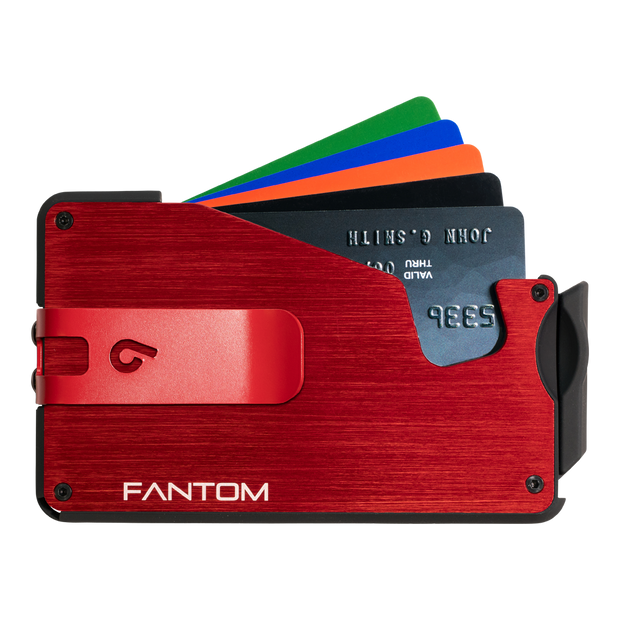 Fantom S 10 Coin Holder Aluminium Wallet (Red) - Red Money Clip