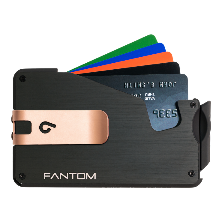Fantom S 13 Regular Aluminium Wallet (Black) - Rose Gold Money Clip