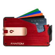 Fantom S 10 Coin Holder Aluminium Wallet (Red) - Rose Gold Money Clip