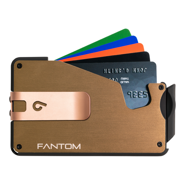 Fantom S 10 Coin Holder Aluminium Wallet (Gold) - Rose Gold Money Clip