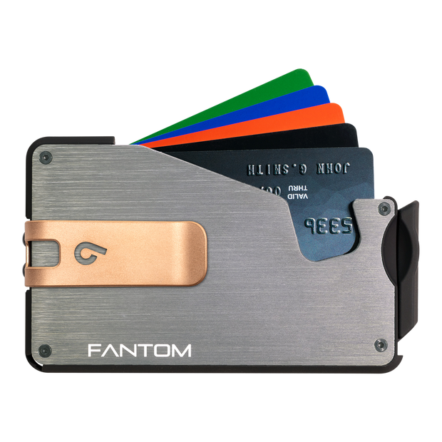 Fantom S 7 Regular Aluminium Wallet (Silver) - Rose Gold Money Clip