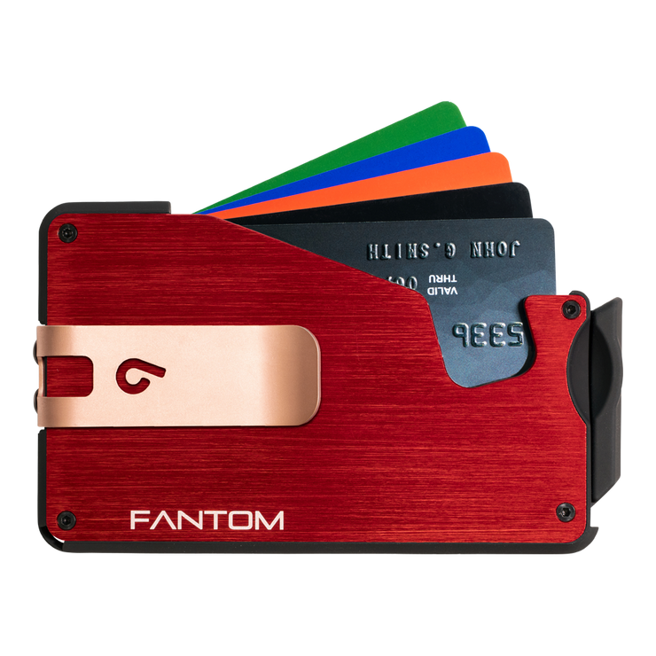 Fantom S 13 Regular Aluminium Wallet (Red) - Rose Gold Money Clip