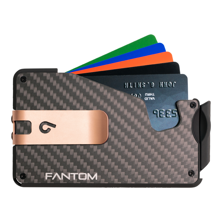 Fantom S 7 Coin Holder Carbon Fibre Wallet - Rose Gold Money Clip