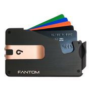 Fantom S 13 Coin Holder Aluminium Wallet (Black) - Rose Gold Money Clip