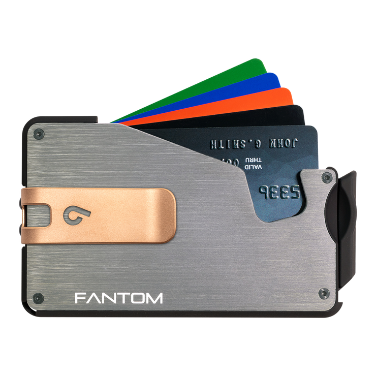 Fantom S 13 Regular Aluminium Wallet (Silver) - Rose Gold Money Clip