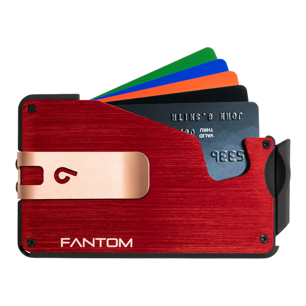 Fantom S 7 Regular Aluminium Wallet (Red) - Rose Gold Money Clip