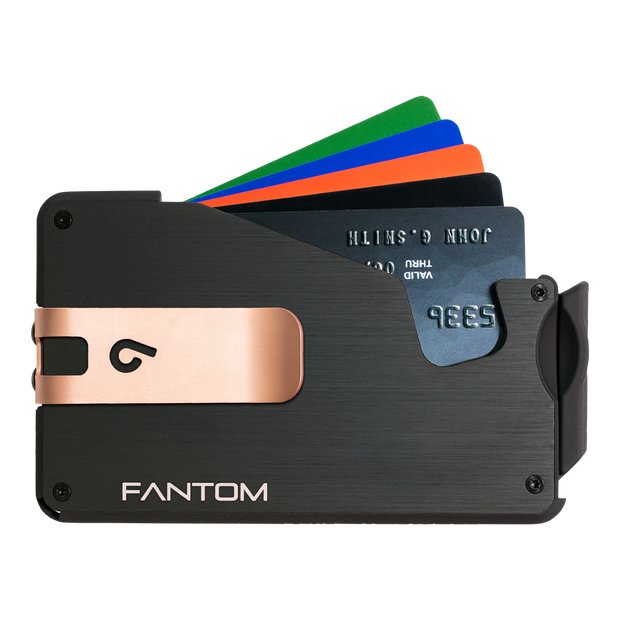 Fantom S 10 Regular Aluminium Wallet (Black) - Rose Gold Money Clip
