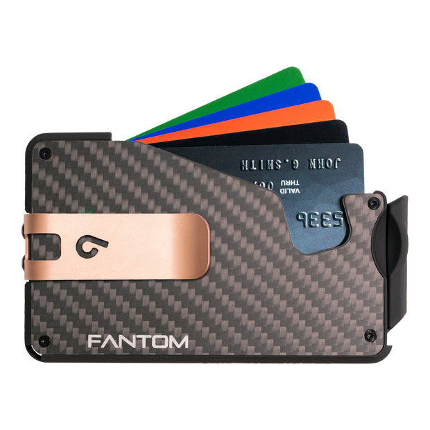 Fantom S 10 Coin Holder Carbon Fibre Wallet - Rose Gold Money Clip
