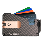 Fantom S 13 Regular Carbon Fibre Wallet - Rose Gold Money Clip