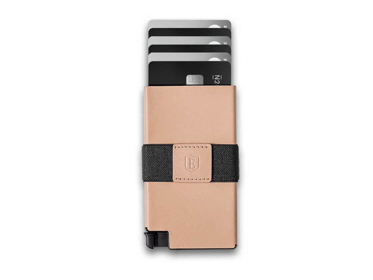 Ekster Senate Leather Card Holder Wallet (Blush Beige) - Cards Fanned