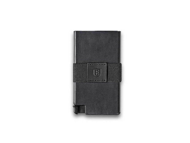 Senate Leather Card Holder Wallet (Nappa Black) - Front View