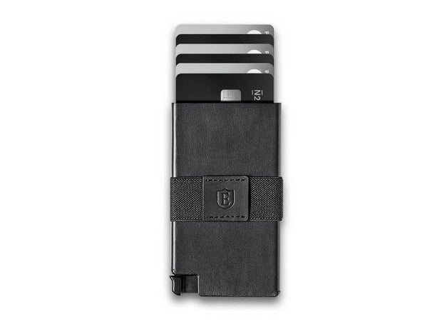 Senate Leather Card Holder Wallet (Nappa Black) - Cards Fanned