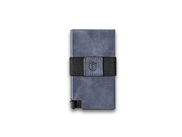 Ekster Senate Leather Card Holder Wallet (Steel Blue) - Front View