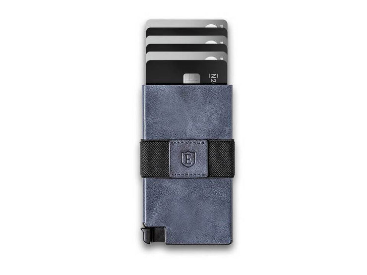Ekster Senate Leather Card Holder Wallet (Steel Blue) - Cards Fanned