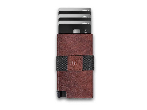Ekster Senate Leather Card Holder Wallet (Classic Brown) - Cards Fanned