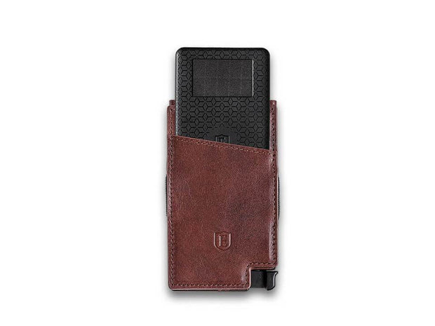 Ekster Senate Leather Card Holder Wallet (Classic Brown) - Tracker Card