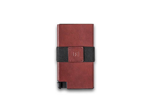 Ekster Senate Leather Card Holder Wallet (Merlot Red) - Front View