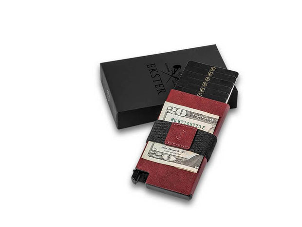 Ekster Senate Leather Card Holder Wallet (Merlot Red) - Packaging