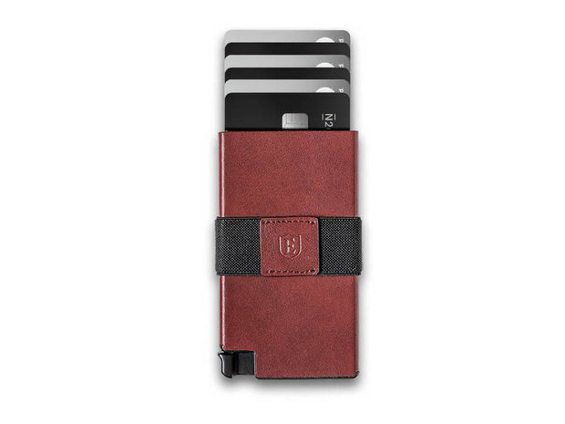 Ekster Senate Leather Card Holder Wallet (Merlot Red) - Cards Fanned