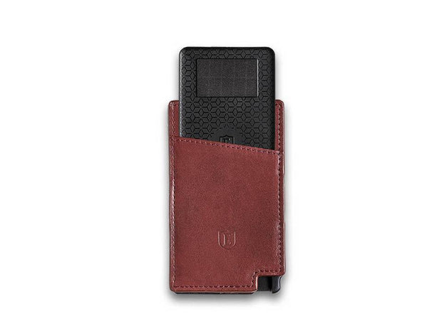 Ekster Senate Leather Card Holder Wallet (Merlot Red) - Tracker Card