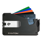 Fantom S 10 Regular Aluminium Wallet (Black) - Silver Money Clip