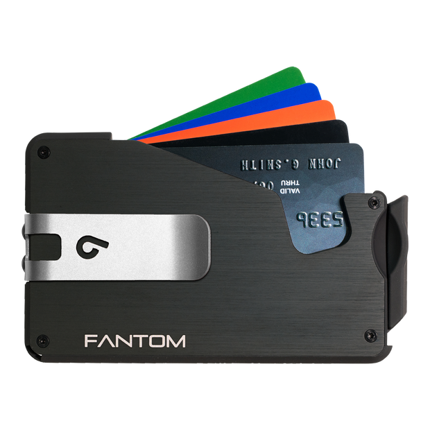 Fantom S 7 Regular Aluminium Wallet (Black) - Silver Money Clip