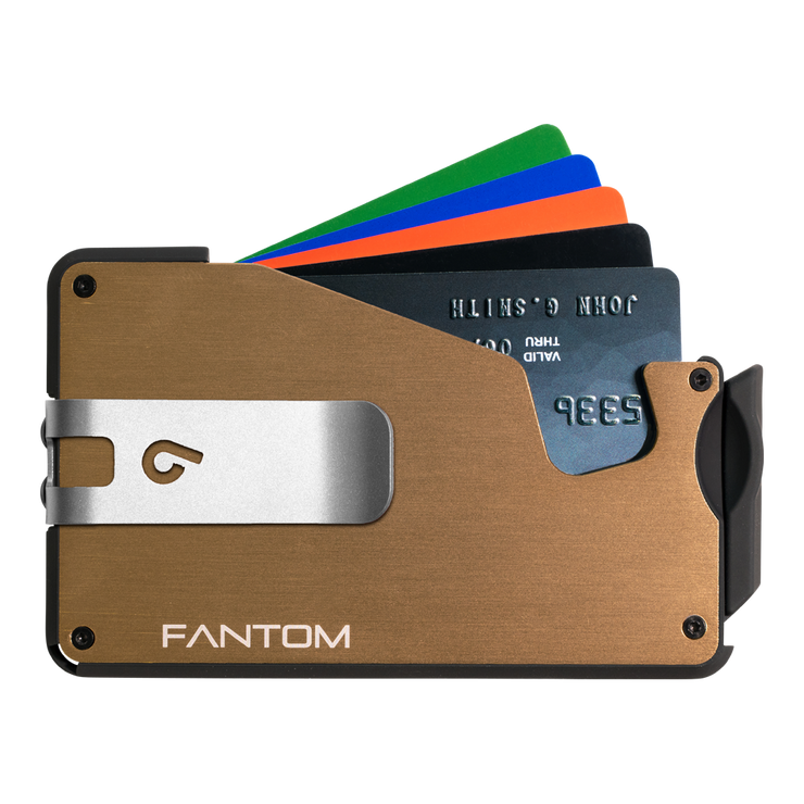 Fantom S 13 Regular Aluminium Wallet (Gold) - Silver Money Clip