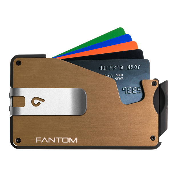 Fantom S 10 Coin Holder Aluminium Wallet (Gold) - Silver Money Clip