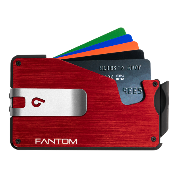 Fantom S 10 Coin Holder Aluminium Wallet (Red) - Silver Money Clip