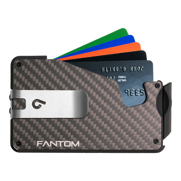 Fantom S 10 Coin Holder Carbon Fibre Wallet - Silver Money Clip