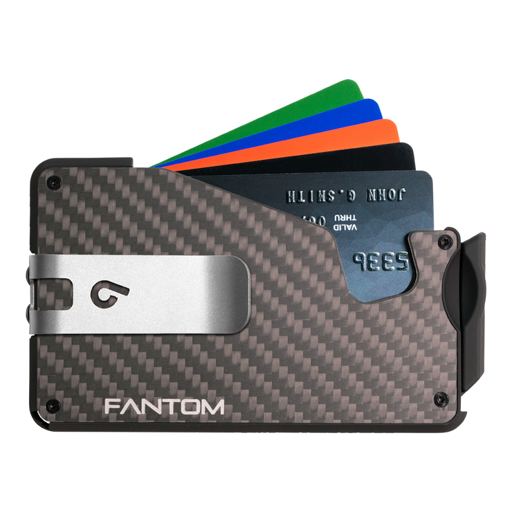 Fantom S 7 Coin Holder Carbon Fibre Wallet - Silver Money Clip